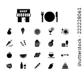 food and drink vector icon set   | Shutterstock .eps vector #222228061