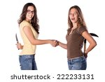 two girl friends argument on... | Shutterstock . vector #222233131