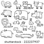 Stock vector vector illustration of cartoon wild animals set coloring book 222237937