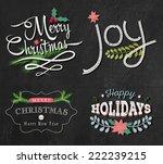 christmas set   labels  emblems ... | Shutterstock .eps vector #222239215