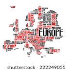 europe continent city map tag...   Shutterstock .eps vector #222249055