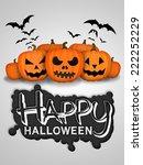 happy halloween pumpkins white... | Shutterstock . vector #222252229