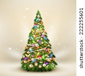 christmas fir tree on elegant... | Shutterstock .eps vector #222255601
