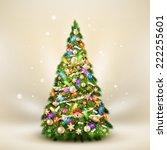 christmas fir tree on elegant... | Shutterstock .eps vector #222255601
