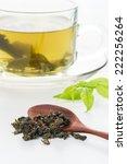 closeup dried green tea leaf... | Shutterstock . vector #222256264