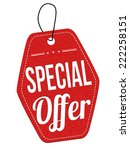 special offer red leather label ... | Shutterstock .eps vector #222258151