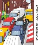 traffic jam in the city at rush ... | Shutterstock .eps vector #222273625