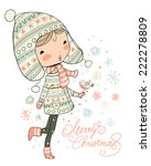 christmas girl. christmas and... | Shutterstock .eps vector #222278809