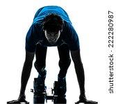 one  man runner sprinter on...   Shutterstock . vector #222280987