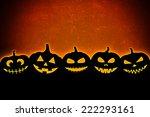 halloween pumpkins silhouettes   Shutterstock . vector #222293161
