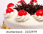 white cake with cherries and... | Shutterstock . vector #2222979