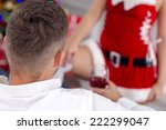 sexy woman santa  in red... | Shutterstock . vector #222299047