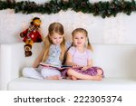 two sisters reading a book in... | Shutterstock . vector #222305374