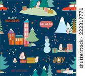 stylish merry christmas card in ... | Shutterstock .eps vector #222319771
