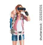 girl looking through binoculars ... | Shutterstock . vector #222322531