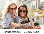 beautiful blonde and brunette... | Shutterstock . vector #222327655