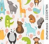 Stock vector animal background with cute bird alligator dog giraffe rabbit vole panda monkey wolf 222339784