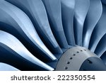 Turbo-jet engine of the plane, close up - stock photo