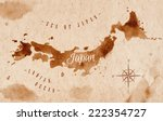 Map Of Japan In Old Style In...