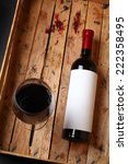 bottle of red wine with a blank ... | Shutterstock . vector #222358495
