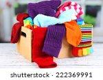 multicoloured socks in a box on ... | Shutterstock . vector #222369991