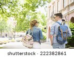 Stock photo rear view of young college friends talking while walking in campus 222382861