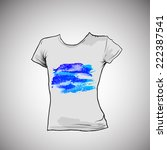 t shirt design with blue... | Shutterstock .eps vector #222387541