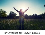 young girl spreading hands with ... | Shutterstock . vector #222413611