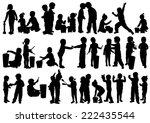 children silhouettes | Shutterstock .eps vector #222435544