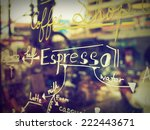 text coffee menu on the mirror... | Shutterstock . vector #222443671