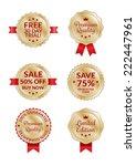gold badges labels   Shutterstock .eps vector #222447961