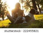 girl using tablet in the park... | Shutterstock . vector #222455821
