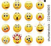 vector set of smiling ball... | Shutterstock .eps vector #222465805