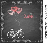bike and balloonson blackboard .... | Shutterstock .eps vector #222470395