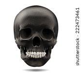 Human Skull Black With White...