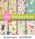 Stock vector  stylish seamless patterns with funny cartoon animals in vector 222498535
