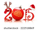 Christmas 2015, Illustration showcasing 2015 text with a reindeer, tree ornament, candy cane, and a Santa hat on a white background. - stock photo