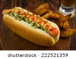 hot dog with potato wedges   Shutterstock . vector #222521359