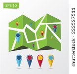 map with colorful choices pins  | Shutterstock .eps vector #222537511