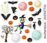 halloween stickers | Shutterstock . vector #222537721
