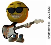 3D render of virtual model Emotiguy wearing sunglasses, tapping his foot, and playing a hot electric guitar.