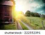 Summer Landscape With Old Barn...