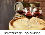 glasses of wine in cellar with...   Shutterstock . vector #222583465