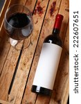 bottle of red wine with a blank ... | Shutterstock . vector #222607651