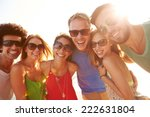 group of young friends on... | Shutterstock . vector #222631804