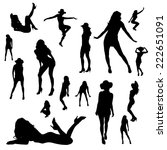 vector silhouettes of sexy... | Shutterstock .eps vector #222651091