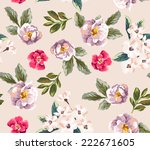 seamless floral vector pattern | Shutterstock .eps vector #222671605