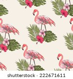 seamless leaves with flamingo... | Shutterstock .eps vector #222671611