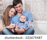 beautiful family with a baby... | Shutterstock . vector #222675487