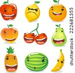 funny fruit characters  with... | Shutterstock .eps vector #222681355